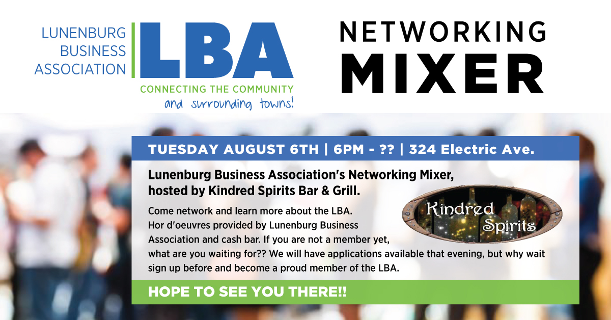 LBA Networking Mixer Tuesday August 6th  – Lunenburg